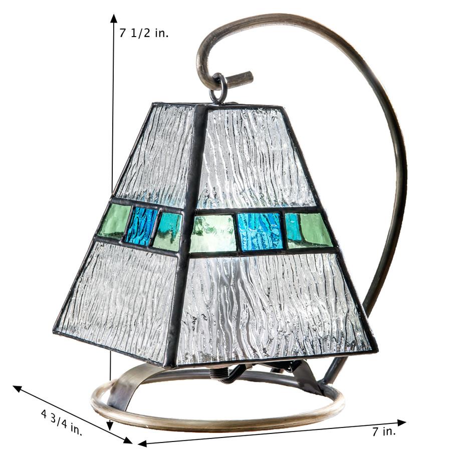 J. Devlin Lam 703 Clear Ripple, Light Blue and Antique Green Mini Lamp