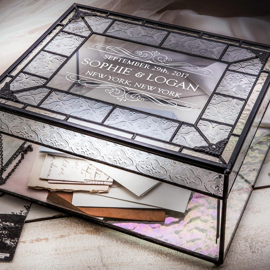 Personalized Wedding Card Box Engraved Glass Wedding Card Holder Reception Keepsake Display