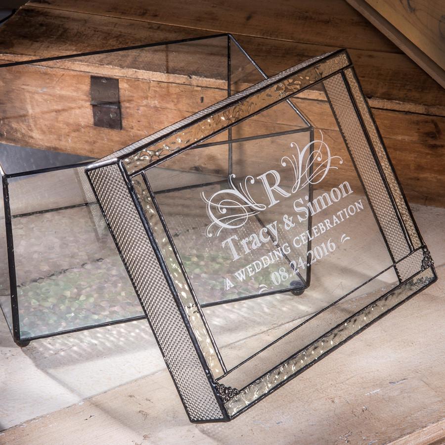 Personalized Wedding Card Box Engraved Clear Glass Card Holder Reception Decor Keepsake Display