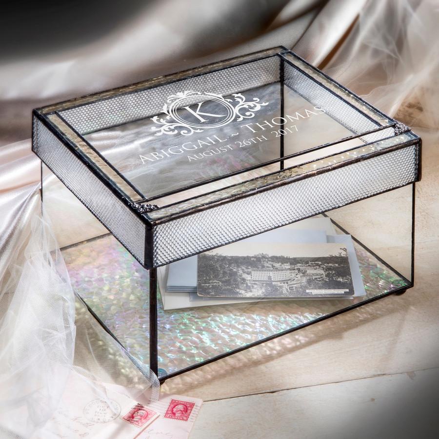 Personalized Wedding Card Box Engraved Glass Wedding Card Holder with Slot Reception Decor Keepsake Display