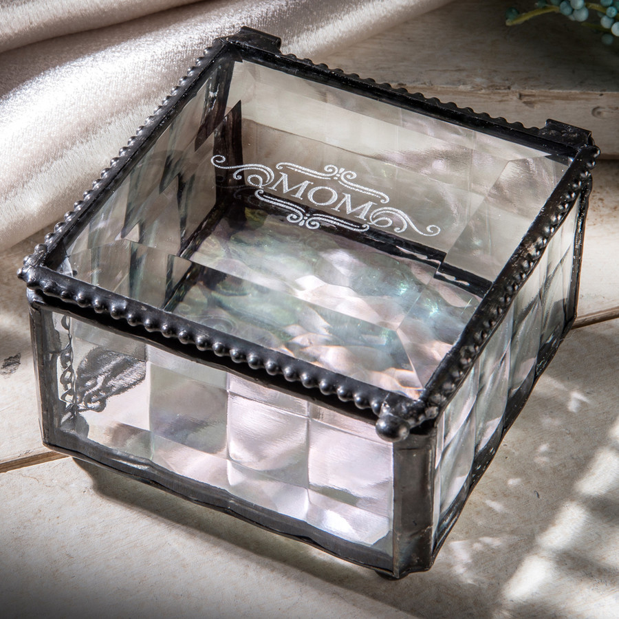 Mom Engraved Clear Cube Jewelry Box Mother's Day Gift