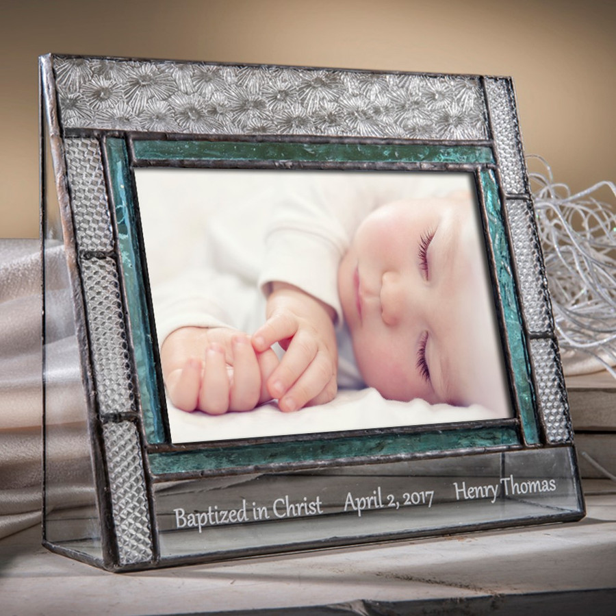 Baptized in Christ Baptism Date and Name Personalized 4x6 Horizontal Frame