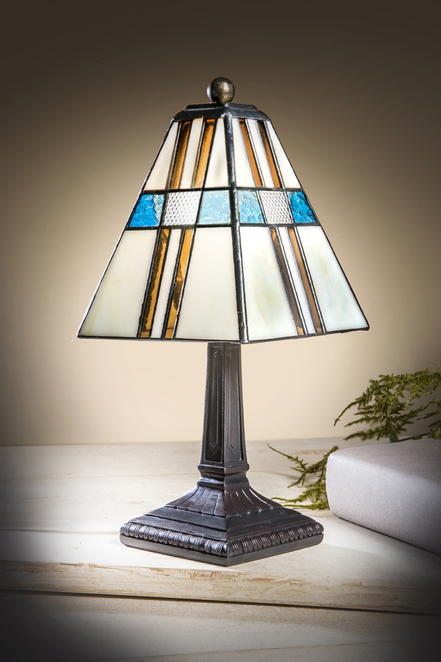 Ivory Brown and Blue Stained Glass Mini Tiffany Lamp