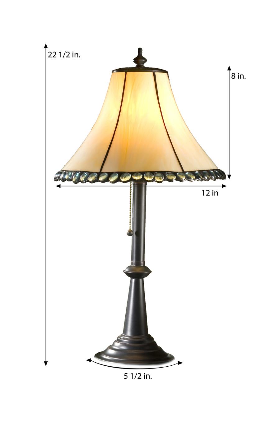 J. Devlin Lam 652 TB Ivory with Aquamarine Stones Table Lamp