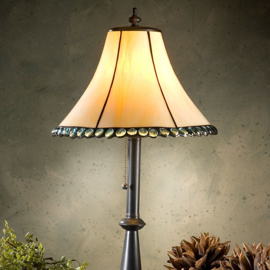 Ivory with Aquamarine Stones Table Lamp Lam 652 TB