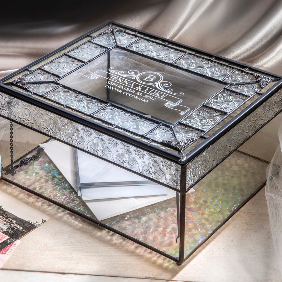 Personalized Wedding Card Box Engraved Glass Keepsake Reception Card Holder