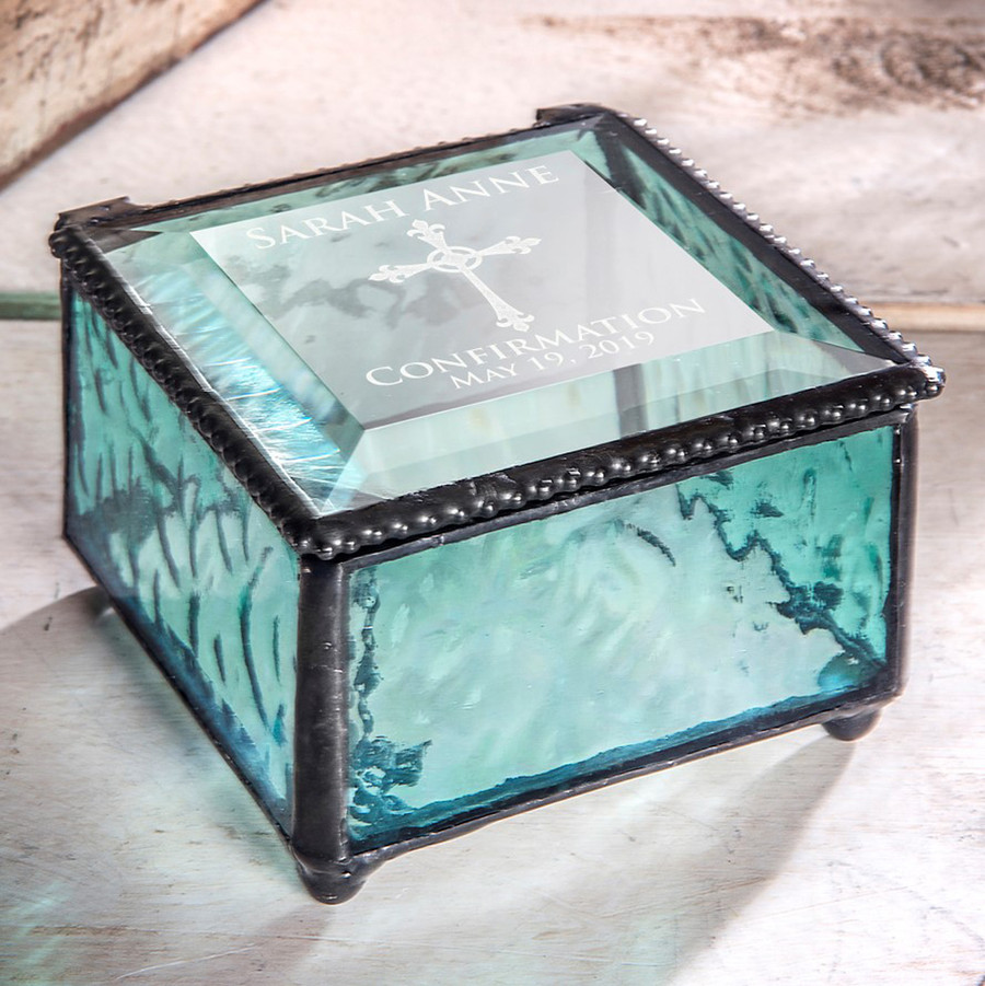 Confirmation Rosary Personalized Keepsake Glass Box Various Colors Available