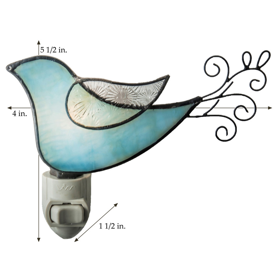 J. Devlin Ntl 188 Blue Green Bird Stained Glass Night Light