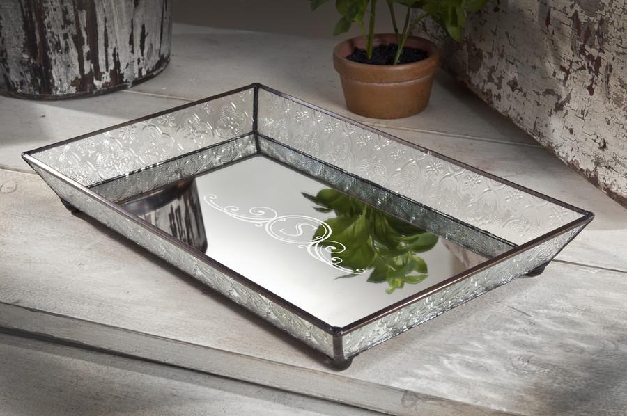 Personalized J. Devlin Tra 106-1 Shabby Chic Glass Vanity Jewelry Tray Decorative Dresser Organizer Tray Monogrammed ET207