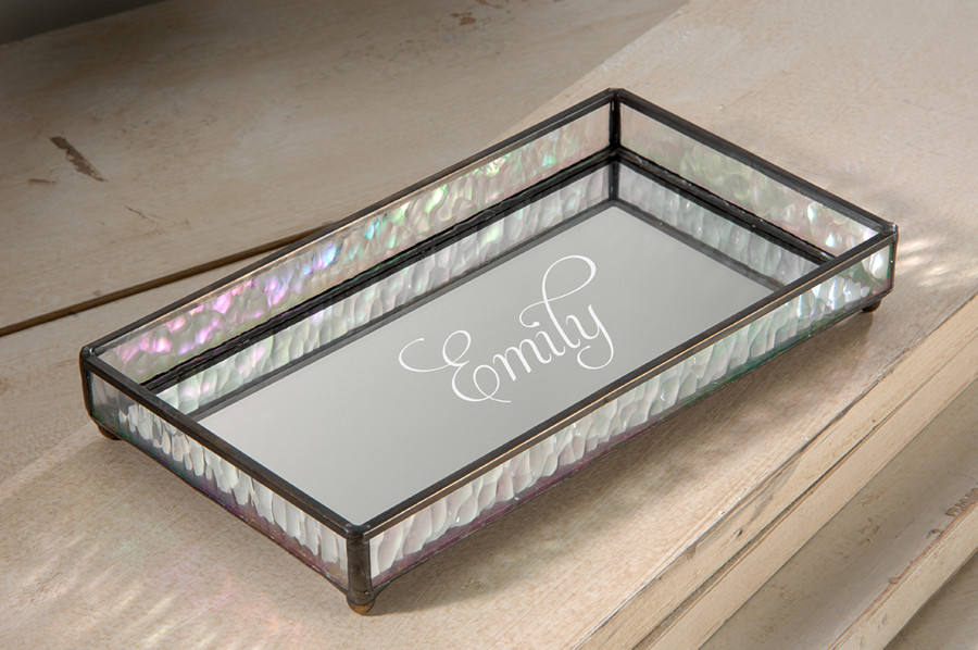 Personalized J. Devlin TRA 101 Engraved Decorative Mirrored Glass Perfume Tray Dresser Organizer Bathroom Accessory ET201