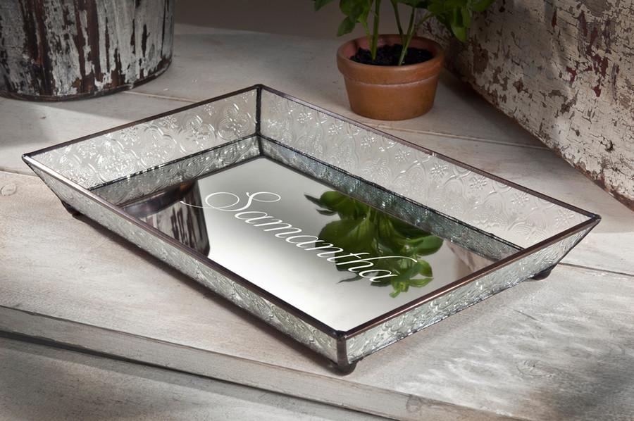 Personalized J. Devlin Tra 106-1 Shabby Chic Glass Vanity Jewelry Tray Decorative Dresser Organizer Tray Personalized engraved name ET209