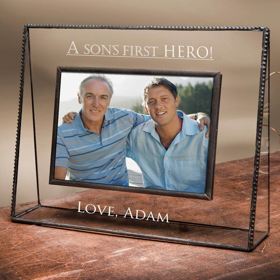 Dad A Sons First Hero Personalized Father's Day Gift 4x6 Horizontal Picture Frame