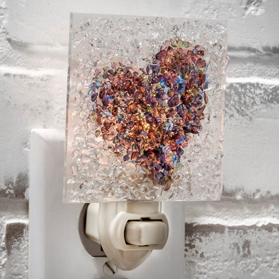 J. Devlin NTL 187 Clear and Multi Colored Fused Glass Heart Night Light
