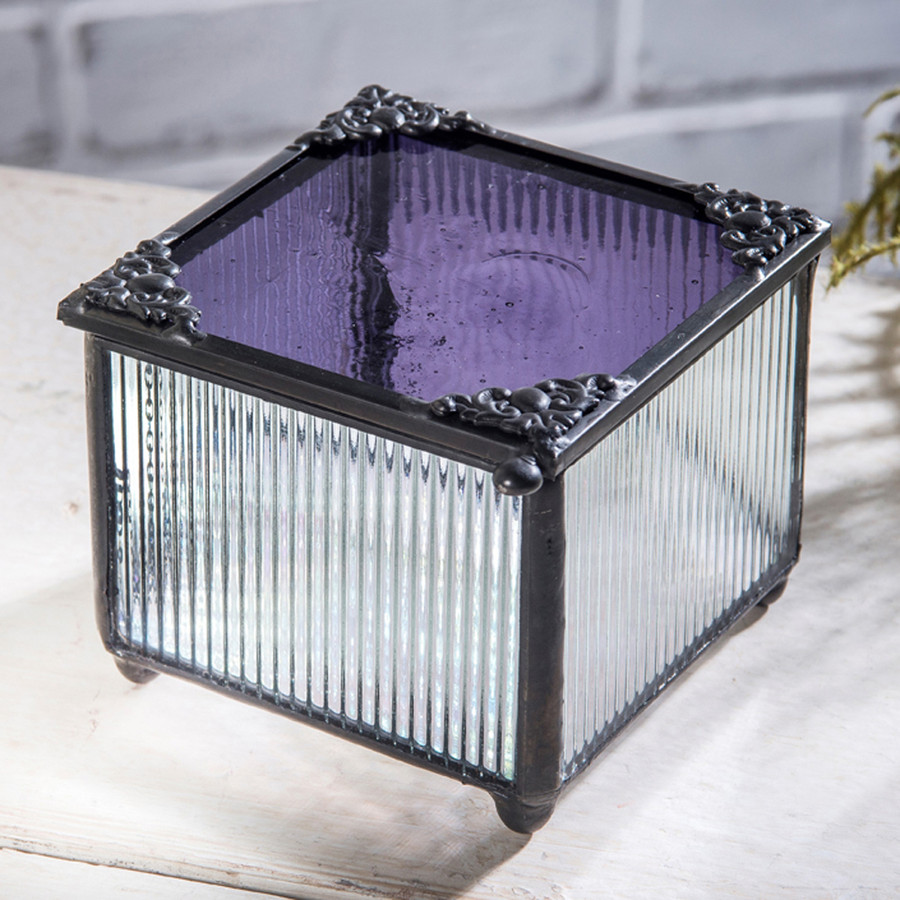 J. Devlin Box 865-3 Purple Stained Glass Trinket Keepsake Box