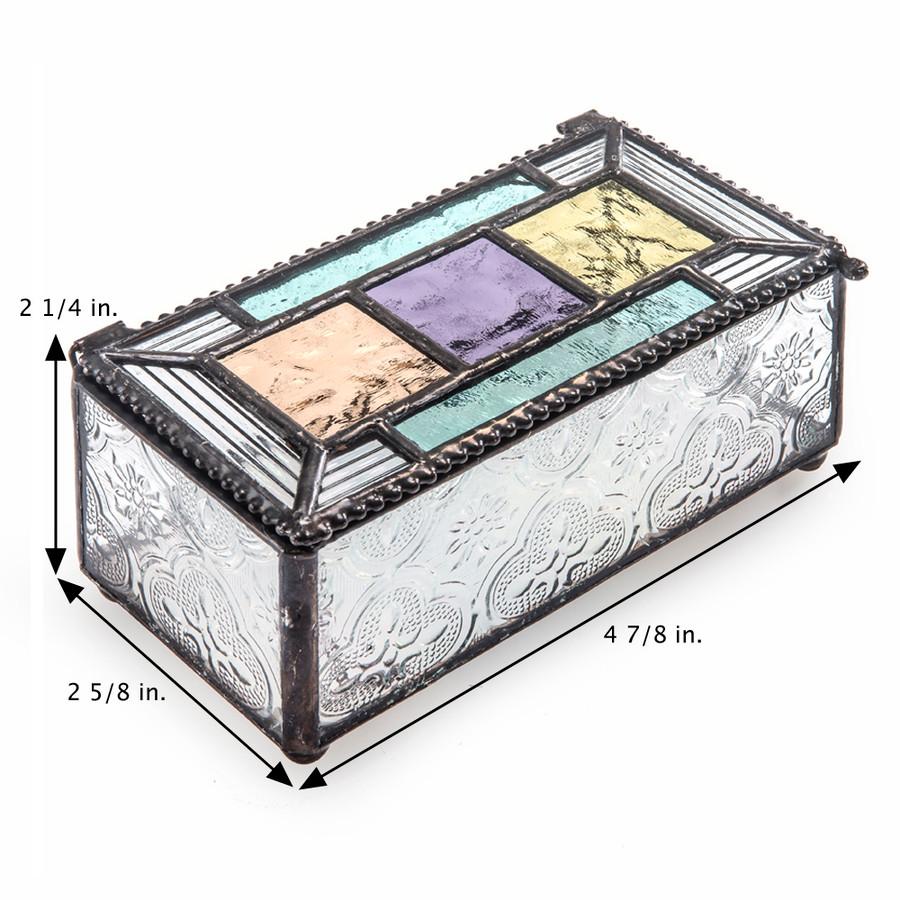 J. Devlin Box 864 Colorful English Muffle Aqua Blue Purple Green and Peach Glass Jewelry Box