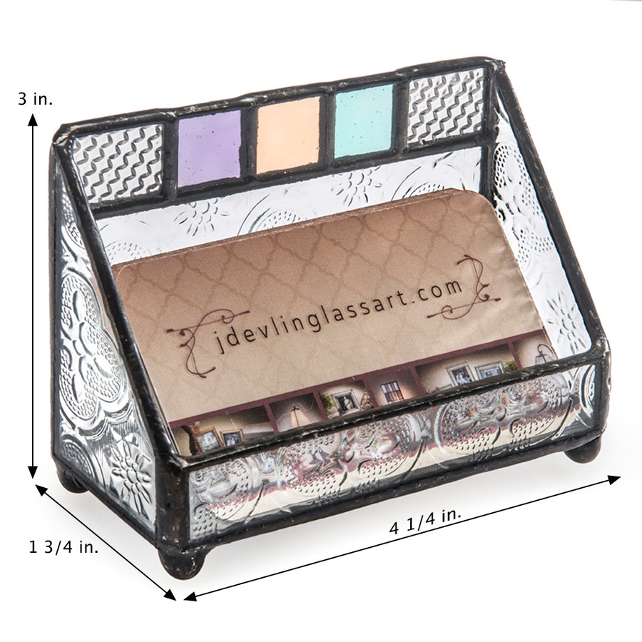 J. Devlin Glass Art Multi Colored Modern Stained Glass Business Card Holder Crd 106