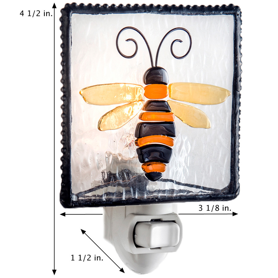 Bumble Bee Night Light Fused Glass Home Accent