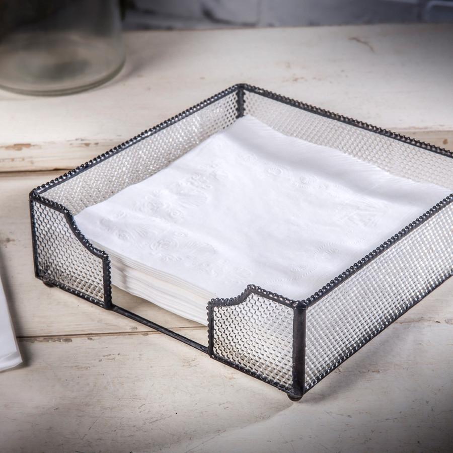 Napkin Holder Tray Clear  Vintage Glass Kitchen Decor