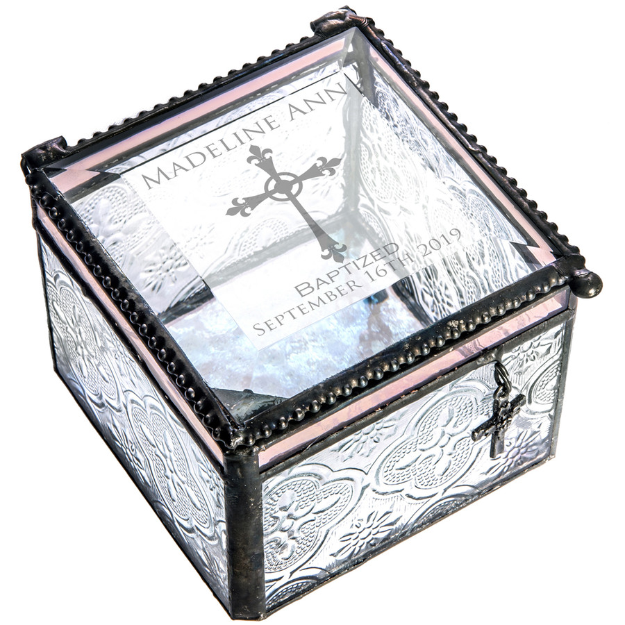 Baptism Pink Accent With Cross Charm Personalized Trinket Box