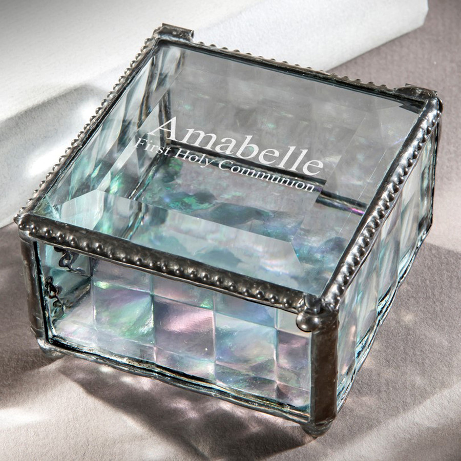 First Holy Communion Religious Special Occasion Clear Cube Glass Personalized Engraved Keepsake Box