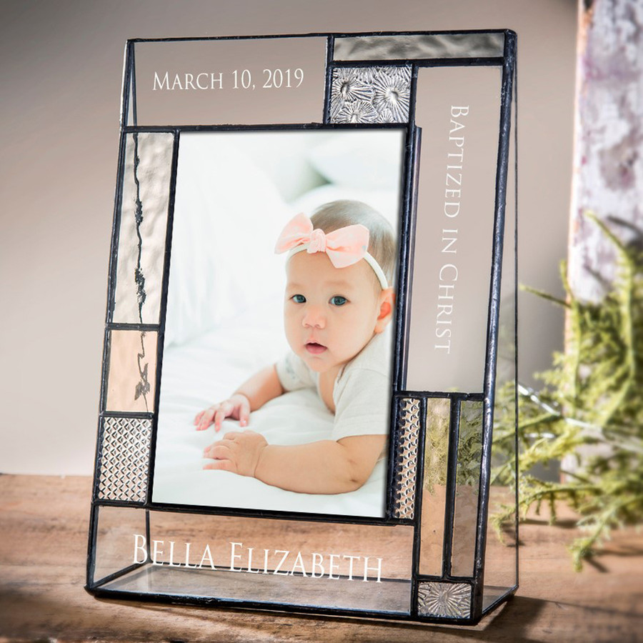 Personalized Baptized in Christ Picture Frame 4x6 Vertical