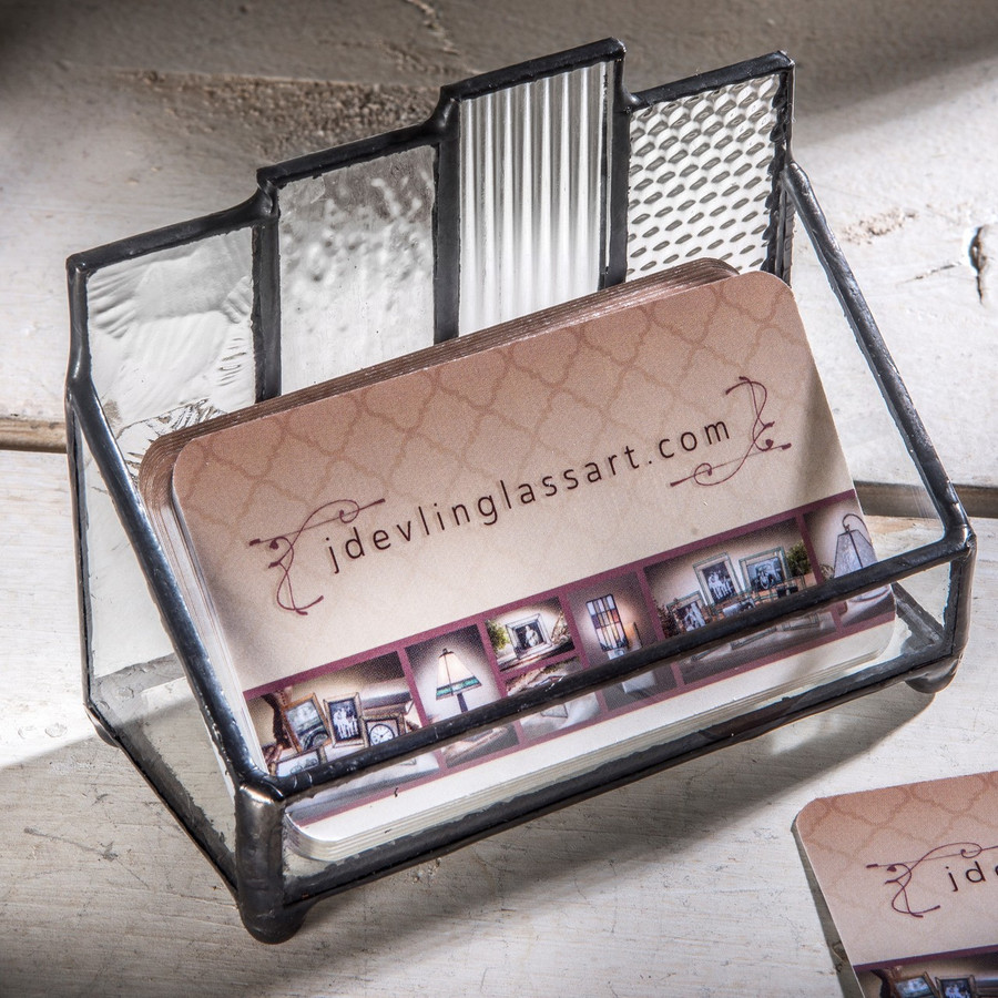 Clear Multi Textured Stained Glass Business Card Holder