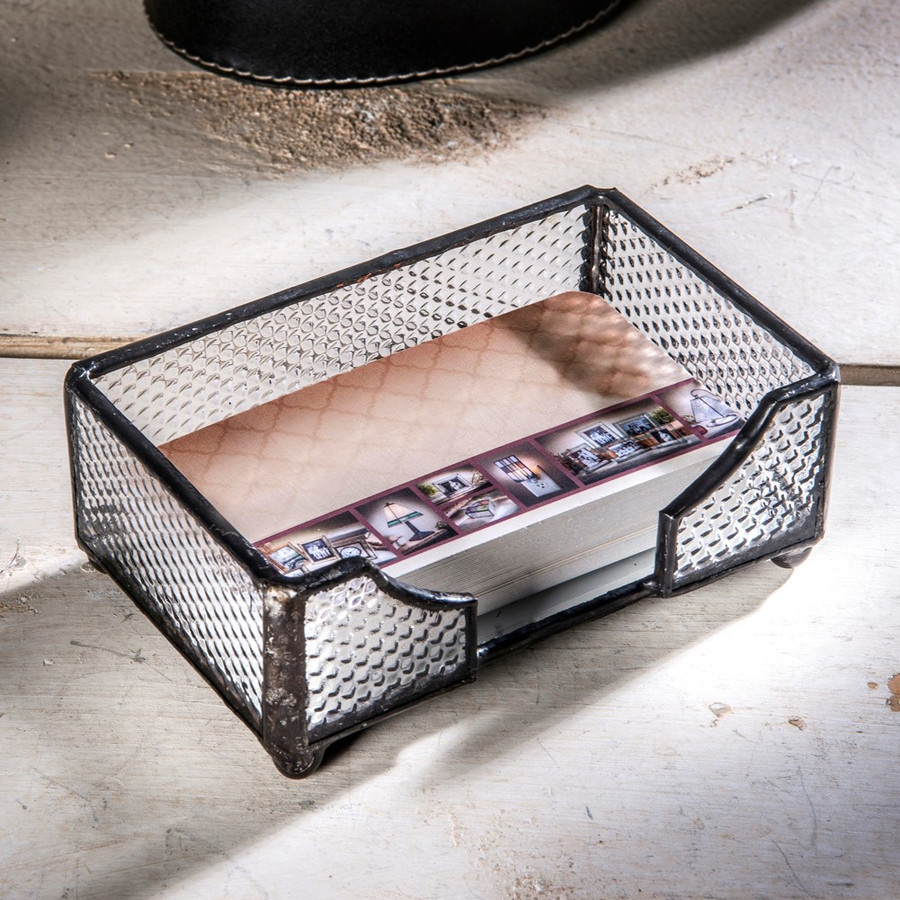 Clear Textured Stained Glass Business Card Holder Tray