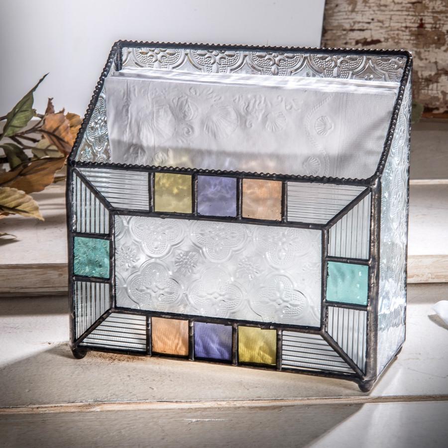 Napkin Holder Multi Colored Vintage Glass Kitchen Decor