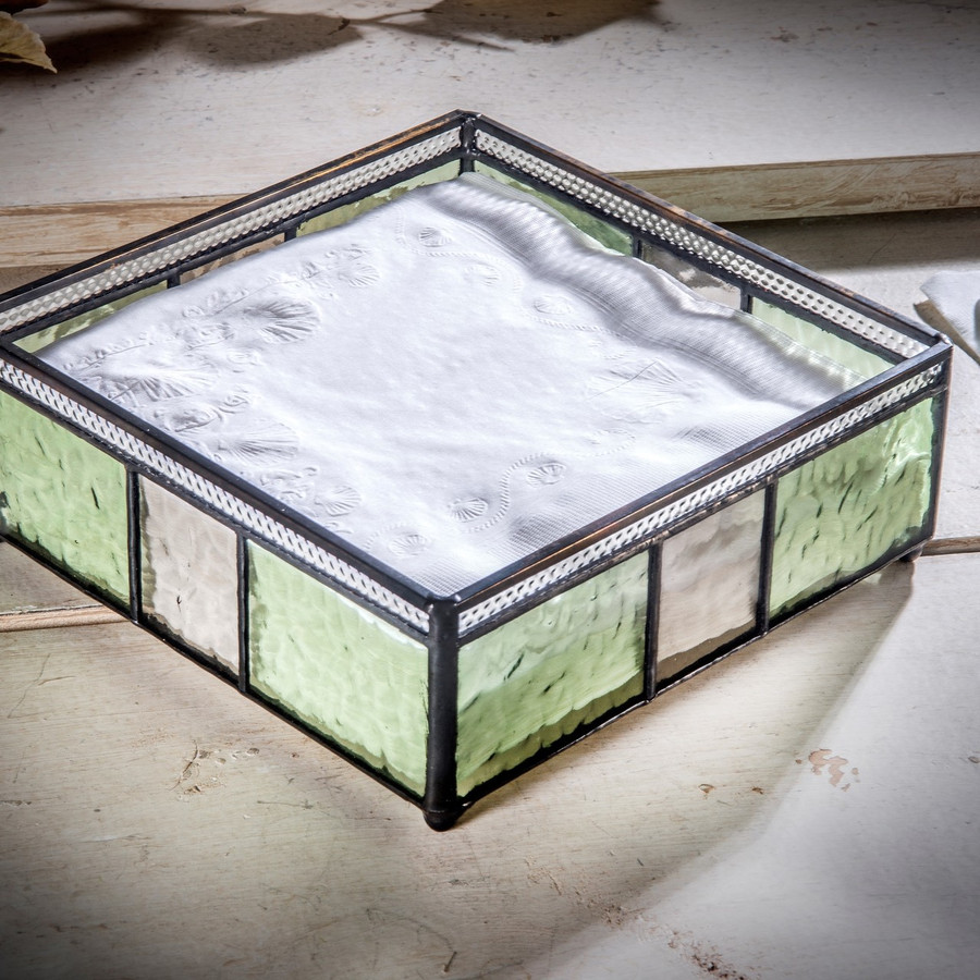 Napkin Holder Tray Green & Gray Stained Glass Kitchen Decor