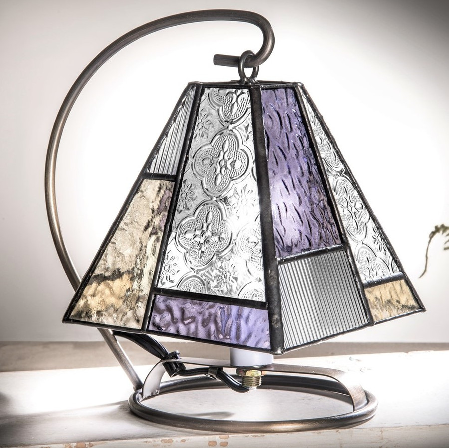 Purple & Green Stained Glass Mini Accent Lamp