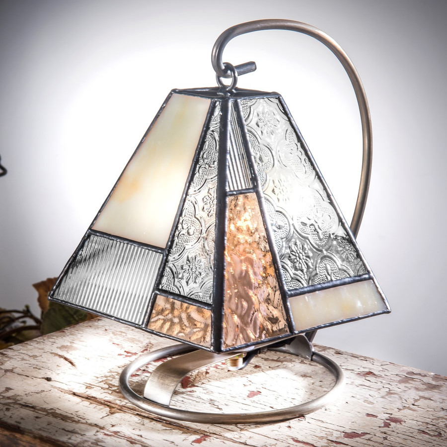 Beige Ivory & Clear Stained Glass Mini Accent Lamp