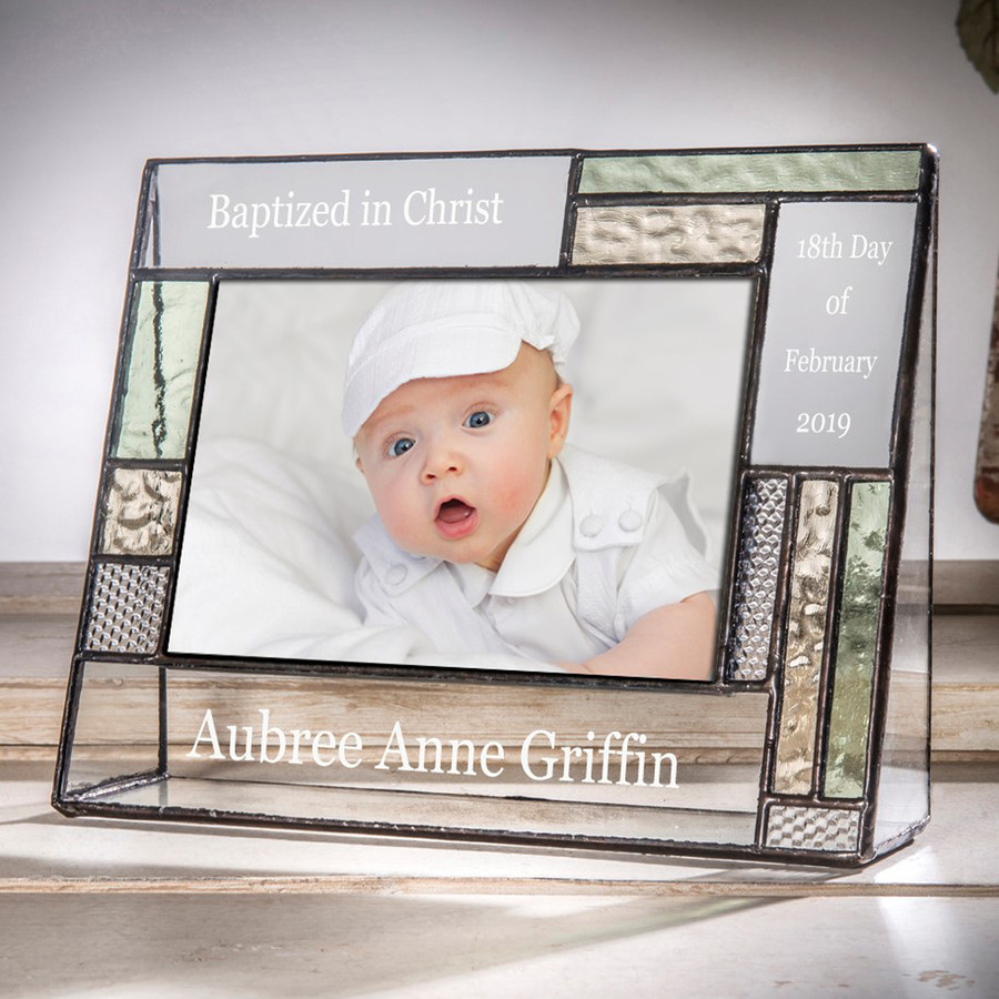 Baptism Personalized 4x6 5x7 Horizontal Picture Frame Green & Yellow