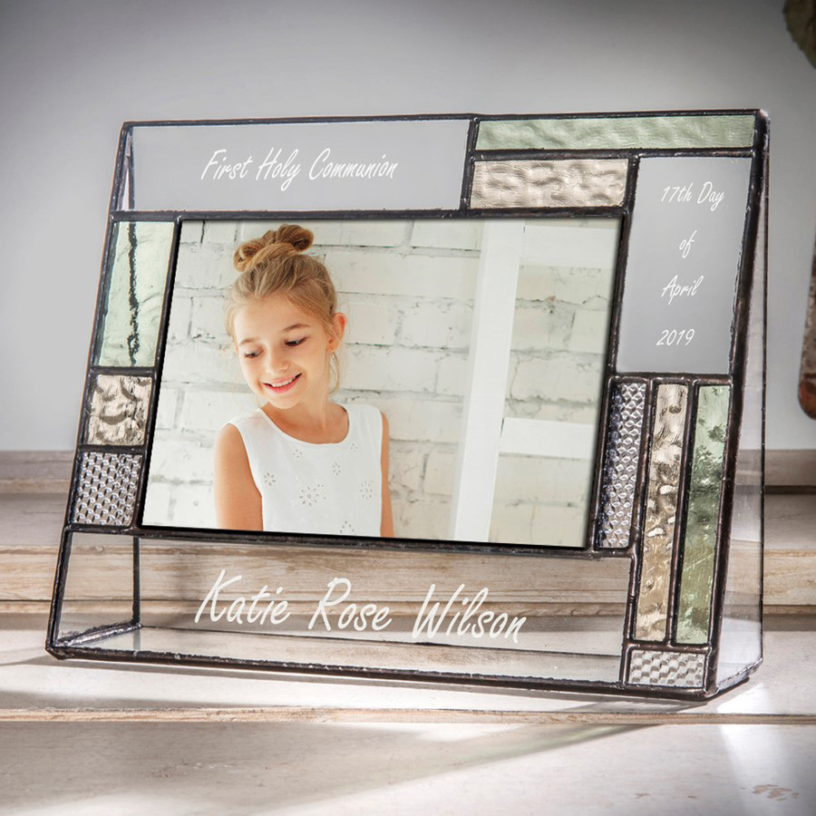 First Holy Communion Personalized 4x6 Horizontal Picture Frame Green & Yellow