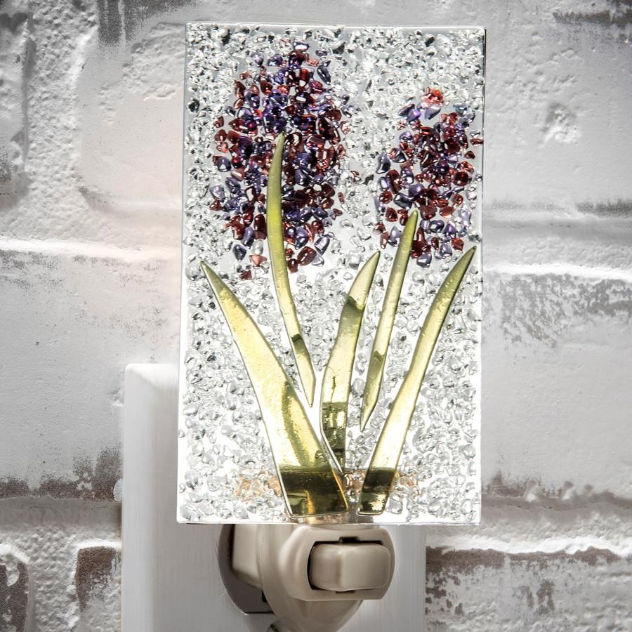 Purple Flower Fused Glass Night Light