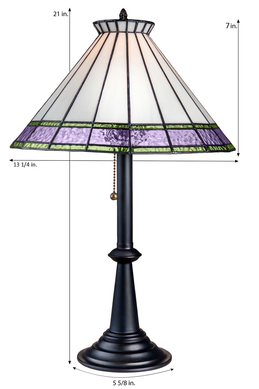 Ivory Purple and Green Tiffany Stained Glass Table Lamp Lam 654-3 TB