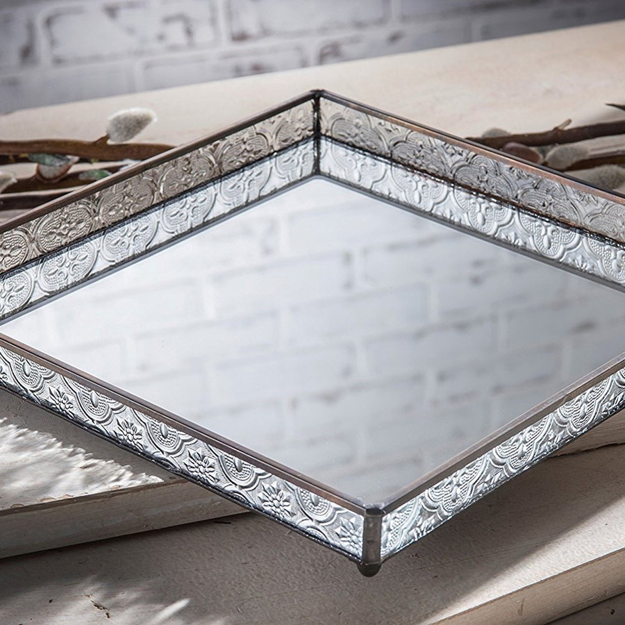 Large Glass Square Mirrored Tray With Vintage Glass Sides