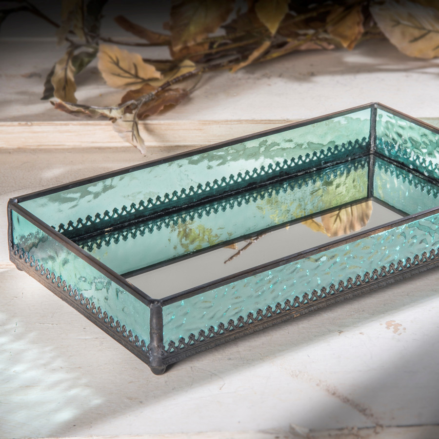 Windsor Blue with Filigree Mirrored Glass Tray