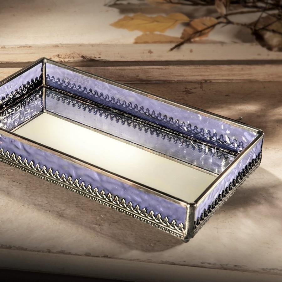Purple with Filigree Mirrored Glass Tray