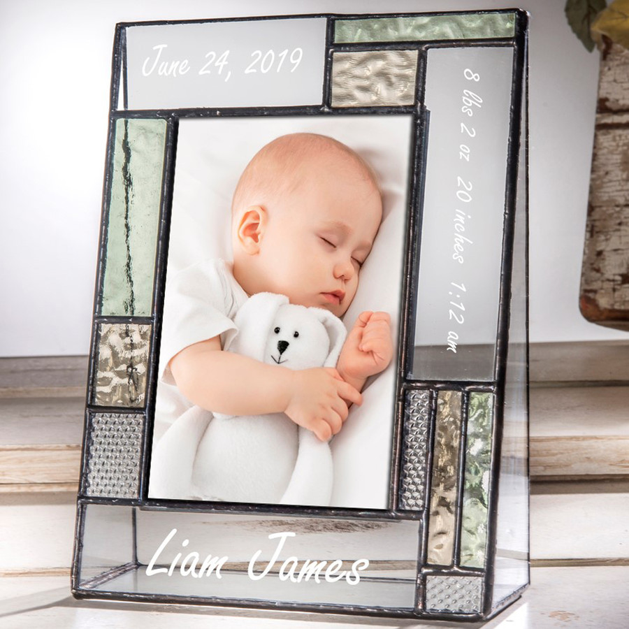 Baby Nursery Personalized Picture Frame Green & Yellow EP530