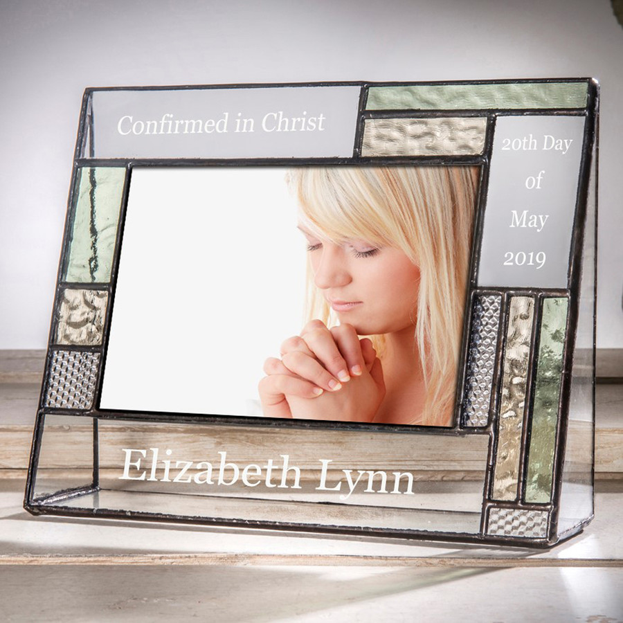 Confirmation Personalized 4x6 Horizontal Picture Frame Green & Yellow