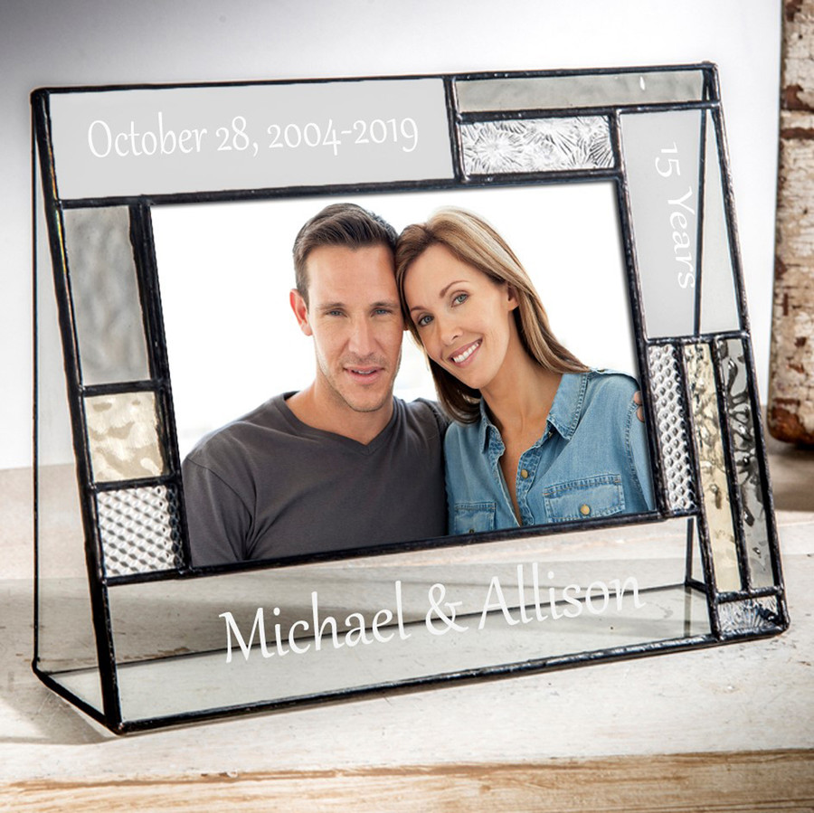 15 Year Anniversary Personalized Gift 4x6 Frame Pale Grey & Yellow EP625
