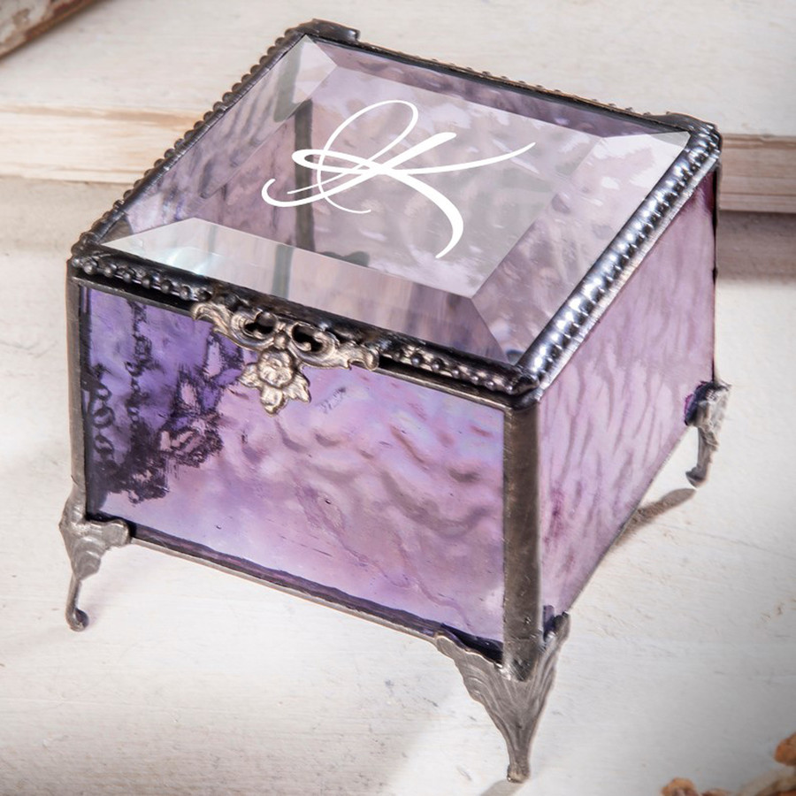 Initial Personalized Glass Jewelry Box Various Colors Available