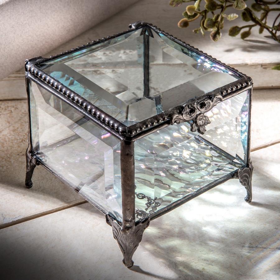 J. Devlin Box 326 Clear Beveled Glass Jewelry Box