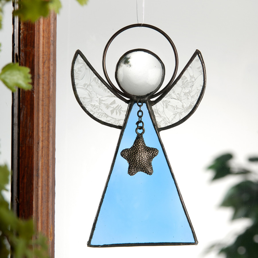 One of many one-of-a-kind religious gifts in our online gift store, this pale blue angel ornament inspires peace and serenity.