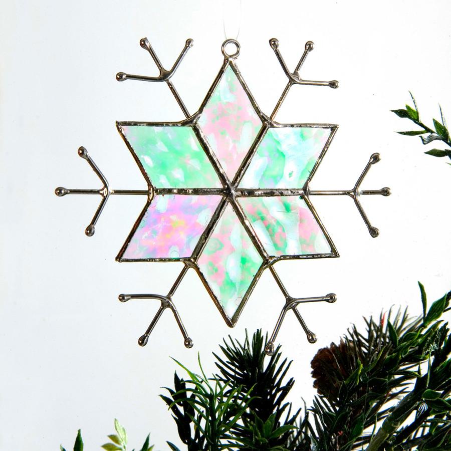 J. Devlin Orn 189 Star Snowflake Clear Irid Glass Ornament