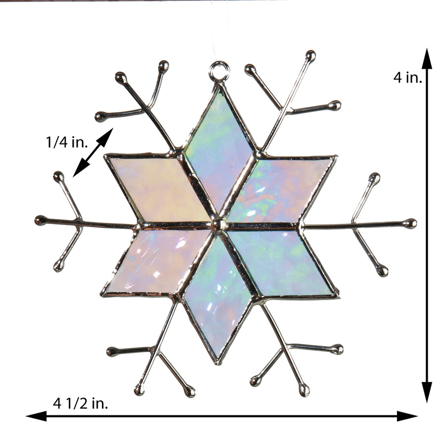 Star Snowflake Ornament Clear Iridescent Glass Orn 189