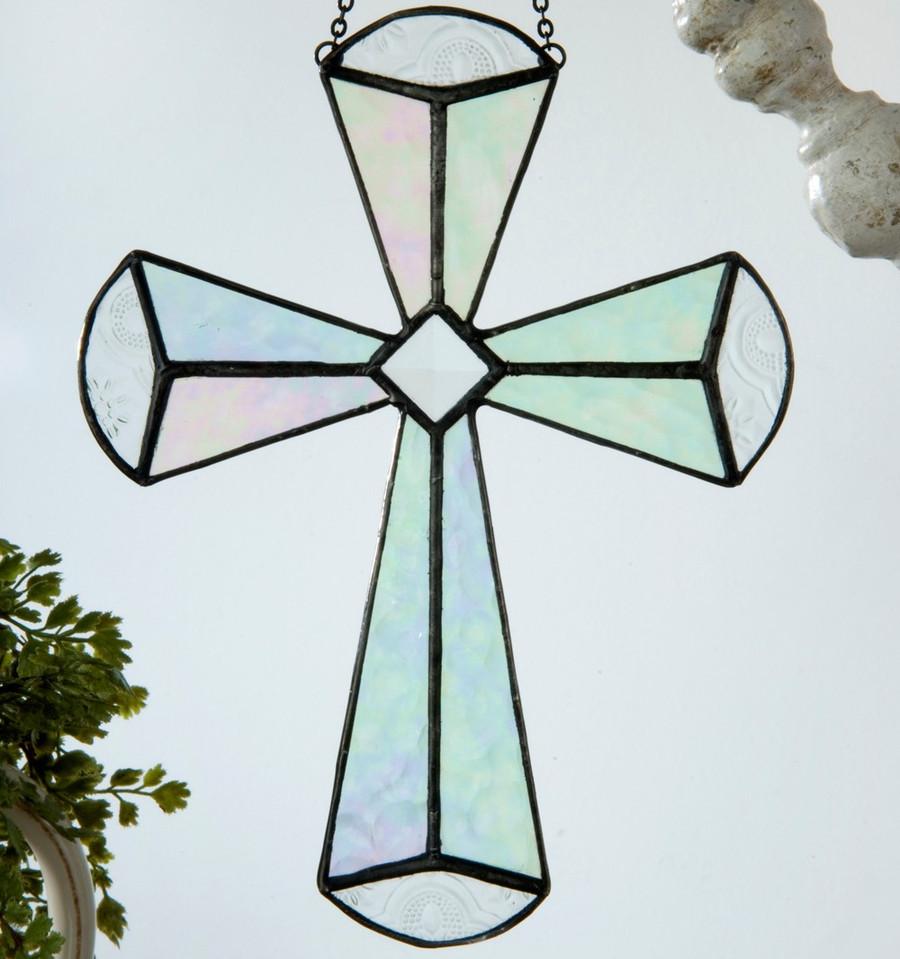 Cross Ornament Iridescent and Beveled Glass Sun Catcher Orn 180
