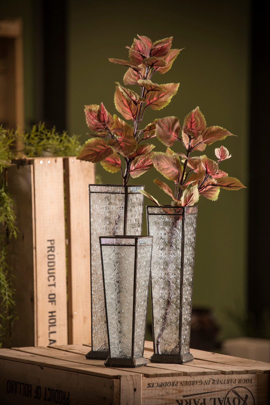 Glass vase set: small, medium, & large