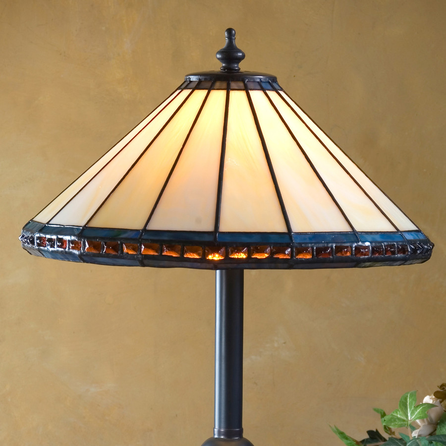 Ivory Multi Colored Trim & Amber Stone Small Table Lamp Lam 646 TB