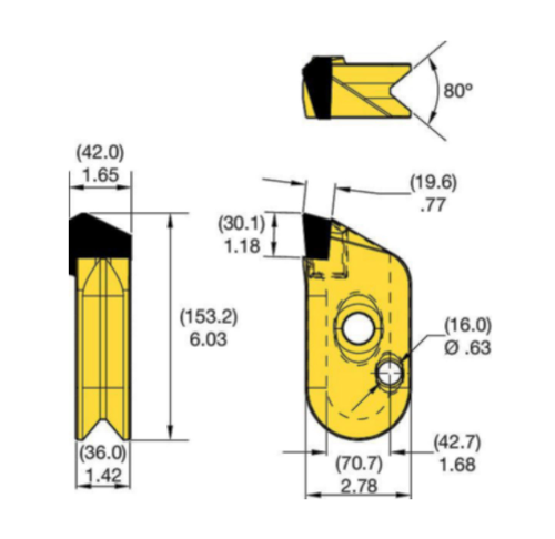 KFW42L Kennametal KF Wall Cutter Drilling Tooth